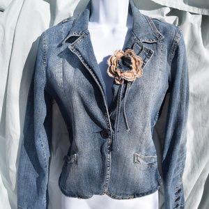 Hydraulic Denim Rose Blue Jean Jacket One Button